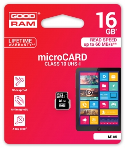 GoodRam M1A0-0160R11, 16GB MICRO CARD class 10 UHS I GOODRAM
