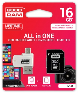 GoodRam M1A4-0160R11, All in One 16GB MICRO CARD class 10 UHS I + card reader