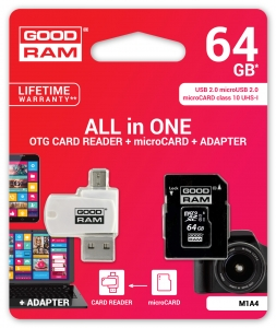 GoodRam M1A4-0640R11, All in One 64GB MICRO CARD class 10 UHS I + card reader