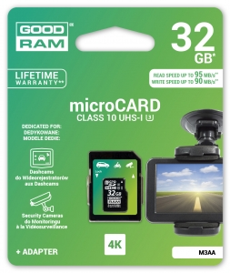 GoodRam M3AA-0640R11-DD, 64GB MICRO CARD MLC U3 UHS I + adapter 95/90 MB/s...