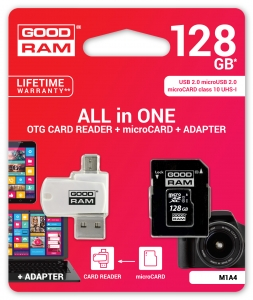 GoodRam M1A4-1280R11, All in One 128GB MICRO CARD class 10 UHS I + card reader