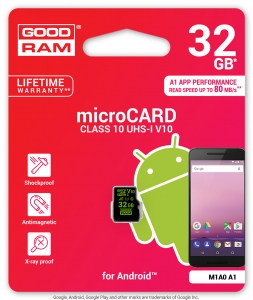 GoodRam M1A0-0320R11-A1, 32GB MICRO CARD V10 ANDROID GOODRAM