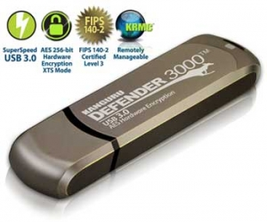 Kanguru 64GB Defender 3000 Encrypted USB 3.0 Flash Drive, FIPS 140-2 Level 3, Metal
