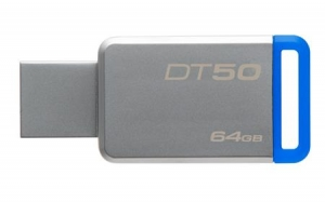 KingstonDT50/64GB, 64GB USB 3.0 DataTraveler 50 (Metal/Blue)