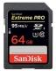 64GB SDXC Card Sandisk Extreme Pro Read/95MB/s Write 90MB/s V30 UHS-I U3 SDSDXXG-064G-GN4IN