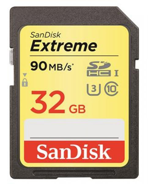 32GB SDHC Sandisk Extreme Class 10 Read/90MB Write/60MB V30 UHS-I U3 SDSDXVE-032G-GNCIN