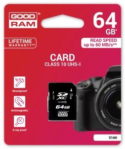 GoodRamS1A0-0640R11, 64GB CARD cl 10 UHS I