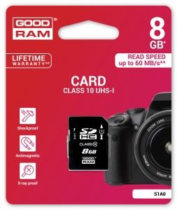 GoodRamS1A0-0080R11, 8GB CARD cl 10 UHS I (zolang de voorraad stekt)