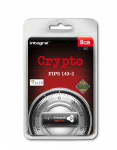 Integral INFD8GCRYPTO1402, 8GB Crypto 140-2 USB 2.0 Flash Drive - AES encryption