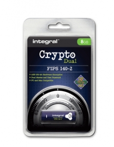 Integral INFD8GCRYPTODL1402, 8GB Crypto Dual 140-2 USB 2.0 Flash Drive - AES