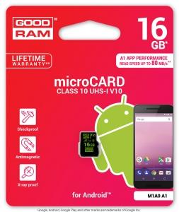 GoodRamM1A0-0160R11-A1, 16GB MICRO CARD V10 ANDROID GOODRAM