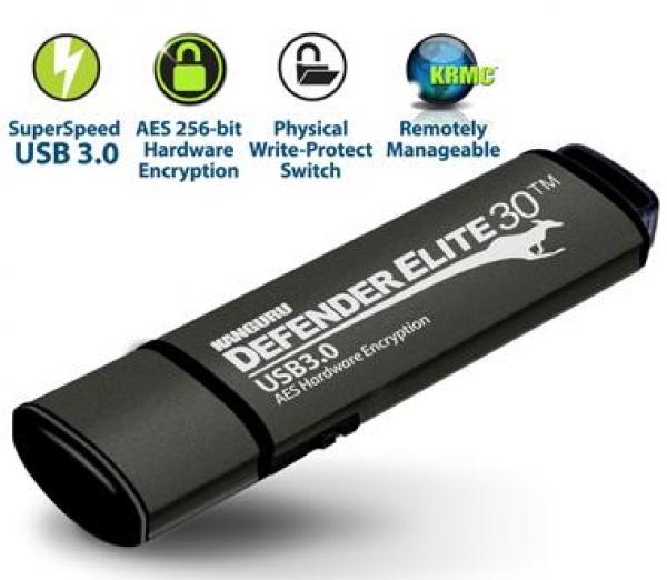 32GB Defender Elite30 Encrypted USB 30 Zwart