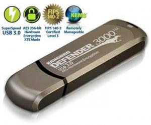 Kanguru8GB Defender 3000 Encrypted USB 3.0 Flash Drive, FIPS 140-2 Level 3, Metal