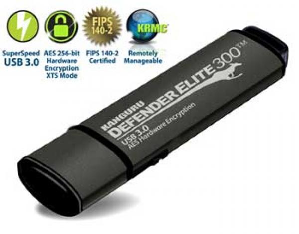 16GB Defender Elite300 Encrypted USB 3.0 Flash Drive, FIPS 140-2 Level 2