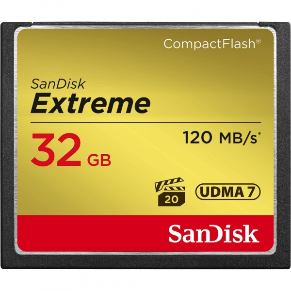 32GB CompactFlash Sandisk Extreme 120MB/s read 85MB/s write SDCFXSB-032G-G46