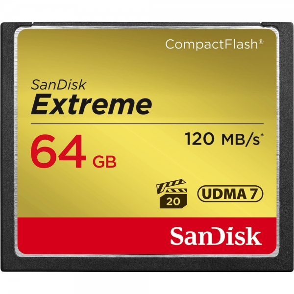 64GB CompactFlash Sandisk Extreme 120MB/s read 85MB/s write SDCFXSB-064G-G46