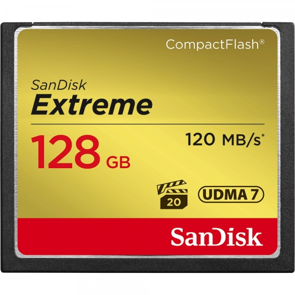 128GB CompactFlash Sandisk Extreme 120MB/s read 85MB/s write SDCFXSB-128G-G46