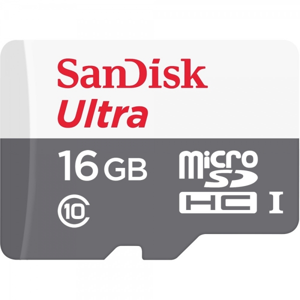 16GB MicroSDHC Sandisk Ultra Android C10 80MB/s met adapter SDSQUNS-016G-GN3MA