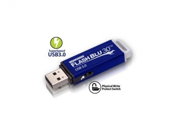 32GB Kanguru FlashBlu30 USB 30 fysieke write protect schakelaar Blauw