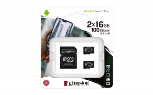 KingstonSDCS2/16GB-2P1A, 16GB microSDHC Canvas Select Plus 100R A1 C10 Two Pack...