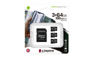 KingstonSDCS2/64GB-3P1A, 64GB microSDXC Canvas Select Plus 100R A1 C10 Three...