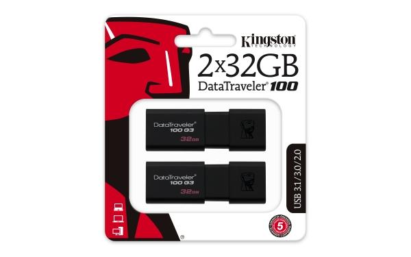 DT100G3/32GB-2P, 32GB USB 3.0 DataTraveler 100 G3 (2 pcs)