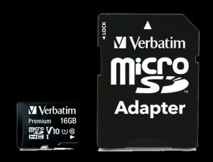 Verbatim44082, 16GB MICRO SDHC PREMIUM UHS-1 CLASS 10 INC ADAPTER