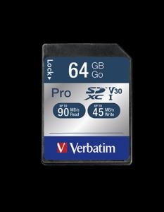 Verbatim47022, 64GB SECURE DIGITAL CARD SDXC PRO UHS-I CLASS 10 (READ 90MB/SEC,...