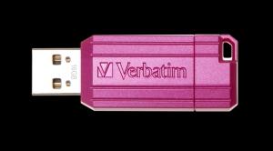 Verbatim49056, 32GB USB DRIVE 2.0 PINSTRIPE STORE N GO HOT PINK