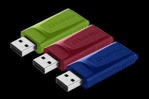 Verbatim49326, USB DRIVE 2.0 STORE N GO SLIDER 3 X 16GB (RED / BLUE / GREEN)