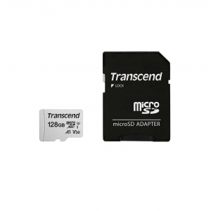 TranscendTS128GUSD300S-A, 128GB UHS-I U3 A1 microSD with adapter